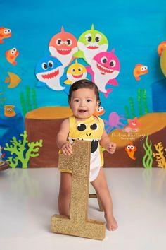 Yellow Shark Boy Romper made by Belle Threads Baby Boy 1st Birthday, First Birthday Photos, Boy Birthday Parties, Themed Parties, Shark Party, Unicorn Party, Baby Shark, First Birthdays, Underwater Theme