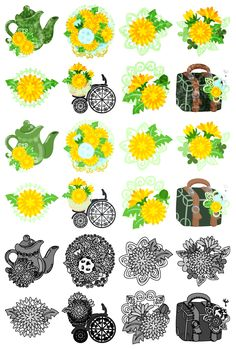フリーのアイコン素材可愛いタンポポ雑貨のアイコン / The cute icons of dandelion objects by atelier-bw    ダウンロードはこちらから  The downloading from this.