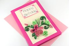 Best Wishes Card Handmade Quilling Flower Pink by stoykasart Happy Birthday Cards Handmade, Birthday Cards For Mom, Greeting Cards Handmade, Quilling Birthday Cards, Quilling Cards, Paper Quilling, Best Wishes Card, Handmade Envelopes, Fathers Day Cards