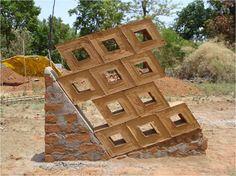 Compressed Earth Block - Earth Architecture and the different types and styles that can be used Cob Building, Green Building, Building Design, Rammed Earth Homes, Rammed Earth Wall, Super Adobe, Earth Wind & Fire, Masonry Wall, Eco Architecture