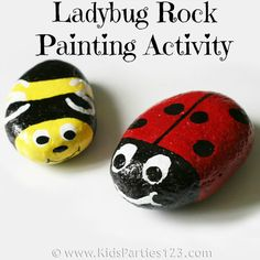 Ladybug Rock Painting Activity by KidsParties123.com