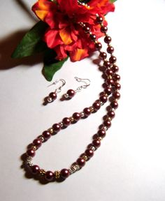 Brown Glass Pearl Necklace and Earrings Set by PrettyWearJewelry, $15.00