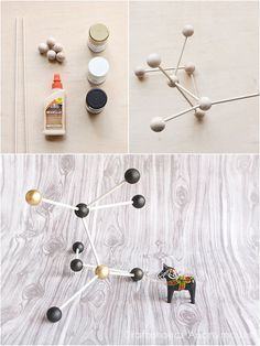 Modern Decor: DIY Molecule Model Today I'm sharing a great way to add a playful element in your home decor! Why not have a little science nerd fun by creating your very own DIY Molecule Model! It's a great way to add some personality in your space Contemporary Home Decor, Unique Home Decor, Cheap Home Decor, Modern Decor, Creative Decor, Science Room Decor, Science Bedroom, Science Decorations, House Decorations
