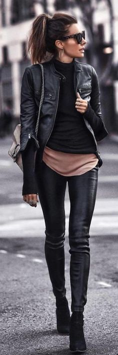#spring #outfits black leather zip-up jacket and black skinny jeans. Pic by @world_fashion_styles