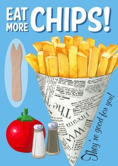 New Retro Eat More Chips # Vintage Style Metal Wall Plaque Sign Uk Recipes, Retro Recipes, Recipies, Hamburgers, Air Fryer Sweet Potato Fries, Great British Food, British Dishes, Fish And Chip Shop, Bangers And Mash