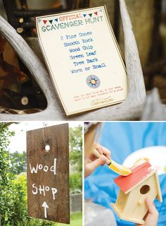wood shop Exquisite Woodsy Kids Campground Party with tree stump seats, rustic antler…