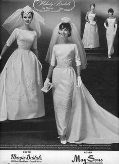 brides wedding photo print ad veil train models - March 24 2019 at 1960s Wedding Dresses, Wedding Dress Trends, Bridal Dresses, Vintage Wedding Photos, Vintage Bridal, Vintage Weddings, Silver Weddings, Hindu Weddings, Peach Weddings