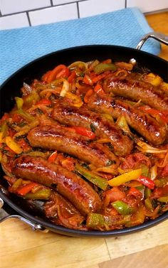 Italian Sausage Peppers and Onions Recipe - Quick, easy and delicious one skillet dinner! This recipe for Italian Sausage Peppers and Onions i - Sausage Recipes For Dinner, Italian Sausage Recipes, Sweet Italian Sausage, Easy Dinner Recipes, Italian Cooking, Sweet Sausage Recipes, Easy Recipes, Italian Sausages, Italian Sausage Sandwich