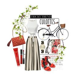 """little red riding ♡"" by lalabydesign ❤ liked on Polyvore featuring Kate Spade, Chanel, Etienne Deroeux, Alexander Wang, Orla Kiely, Jessica McClintock, Estée Lauder, Sephora Collection, TrickyTrend and culottes"