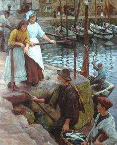 "Stanhope Forbes ""The Old Pier Steps"", 1911 (Great Britain, Realism / Newlyn School, 20th cent.)"