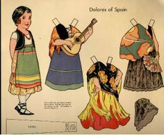 Dolls of Many Lands paper doll. Dolores of Spain