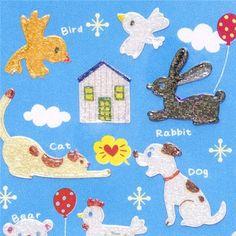 glitter pet sticker dog cat rabbit sheep bird