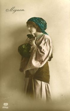 Circa 1914 Mignon LOVELY GYPSY GIRL tinted photo postcard