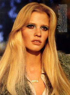 beauty: The Name of the Game / Vogue UK / Lara Stone / 70s Style / ABBA #mytheresa #ACxAGJeans