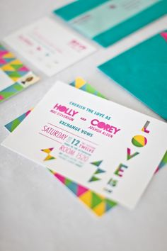 1980s inspired wedding invitations from Lily Red Studio // photo by Cristina G Photography