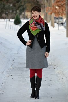 Already Pretty outfit featuring CAbi moto, gray wool sheath dress, red tights, Coclico boots, Desigual scarf