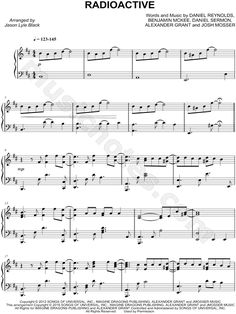 Print and download Radioactive sheet music by Imagine Dragons arranged for Piano. Instrumental Solo in B Minor.