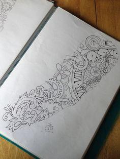 Steampunk Tattoo Sleeve, Steampunk Tattoo Design, Tattoo Design Drawings, Tattoo Sketches, Tattoo Designs, Diy Tattoo, Tattoo Ideas, Maori Tattoos, Body Art Tattoos