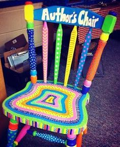 Get an old chair from a garage sale and paint it. Make a chair that reads author's chair to allow children a special space to share their writing. Loads of great examples in this post!