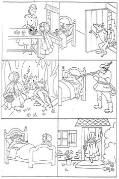 "Images séquentielles ""Le petit Chaperon rouge"" -- six little black-and-white drawings of the main events of Little Red Riding Hood for students to color and put in order -- print in landscape format Más Sequencing Cards, Story Sequencing, Writing Activities, Classroom Activities, Coloring Books, Coloring Pages, Fairy Tales Unit, Picture Story, Black And White Drawing"
