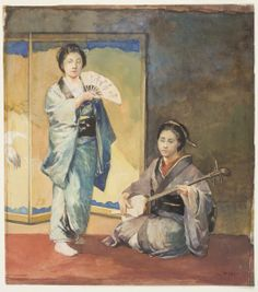 """Musicians In Ceremonial Costume,"" John La Farge, 1887, watercolor and gouache over graphite on medium, smooth cream wove paper, 10 1/2 x 9 3/8"", Worcester Art Museum."