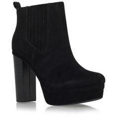 Miss KG Black 'Saffron' high block heel platform ankle boot ($120) ❤ liked  on Polyvore featuring shoes, boots, ankle booties, black bootie, short black  ...