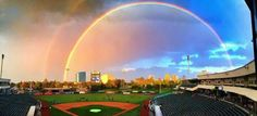 Great shot of Raley Field and rainbow