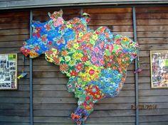 Mapa Painel (2 m X2 m) Patch work em chita By Mara Morelli/SP- Local: Londres