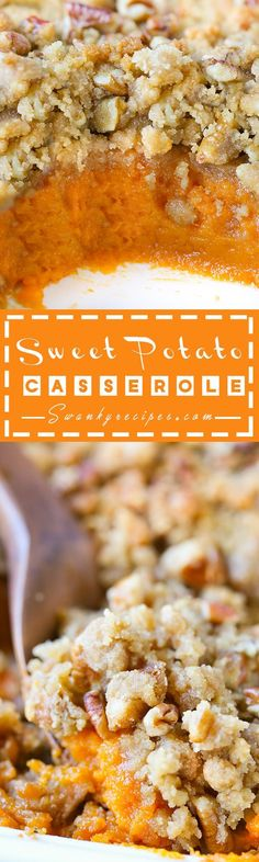 Sweet Potato Casserole - Serve up this classic Sweet Potato Casserole made with fresh sweet potatoes, sugar, butter and spices.  This crunchy buttery, brown sugar and pecan topping served in this casserole is the ultimate staple side dish.  It's the perfect side dish for Thanksgiving and Christmas holiday parties.