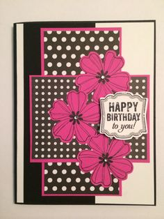 Handmade card using the Flower Shop and Label Love stamp sets from Stampin' Up. Colors- Melon Mambo and Basic Black. Creation By Christina, February 2014