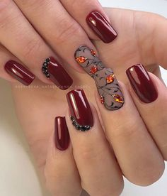 What Christmas manicure to choose for a festive mood - My Nails Nail Art Cute, Fall Nail Art, Cute Nails, Pretty Nails, Manicure Nail Designs, Manicure And Pedicure, Burgundy Nails, Red Nails, Short Nail Designs