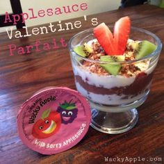 Wacky Apple wild berry applesauce parfait with a Valentine's touch