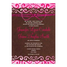 Hot Pink and Brown Country Wedding Invitations