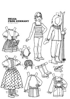 The Friend magazine Paper Doll_Germany_Tate Museum Online Paper Toys, Paper Crafts, Coloring Books, Coloring Pages, Little Passports, Paper Doll House, Online Paper, World Thinking Day, Paper Dolls Printable