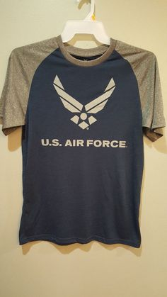 US Air Force USAF Military Athletic Running Blue & Gray Shirt Jersey Mens M #Unbranded #ShirtsTops