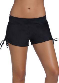 Band Waist Drawstring Design Black Swim Shorts  on sale only US$20.93 now, buy cheap Band Waist Drawstring Design Black Swim Shorts  at lulugal.com
