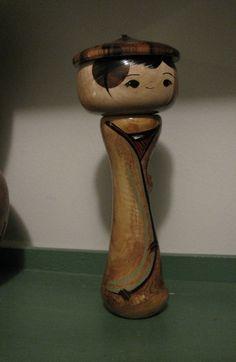 ash wood Kokeshi doll.