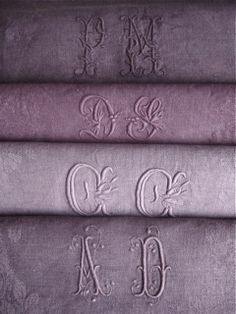 hand-dyed, antique monogrammed linen sheets
