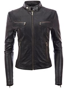 Biker inspired women's genuine leather jacket SUPER SOFT, hand selected sheepskin nappa/napa leather Available in various colours. Napa Leather, Real Leather, Jimmy Choo Shoes, Shopping Websites, Jacket Style, Fitness Fashion, Girls Shoes, Motorcycle Jacket, Leather Jackets
