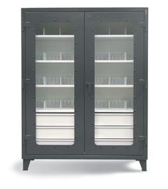 On-Site See-Thru Cabinet - The combination slotted shelf and drawer cabinet for when you need a few drawers and also some shelf space. This cabinet features see thru doors, 6 lower half-width drawers, and 4 upper shelves.