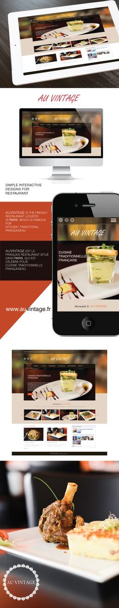 This project contains the web development and user interface for restaurant website. Restaurant Auvintage is located in france. Restaurant Website, User Interface, Web Development, Web Design, France, Projects, Log Projects, Design Web, Blue Prints