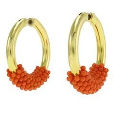 Luise Coral Gold Hoop Earrings