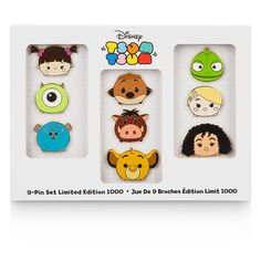 The set of Tsum Tsum contains 9 pins featuring characters from The Lion King (Pumbaa, Timon, and Simba), Tangled (Rapunzel, Mother Gothel, and Pascal), and Monsters Inc (Mike, Sulley, and Boo). Disney Store Europe - €75, 65£, Disney Store US - $99.95, January 2016