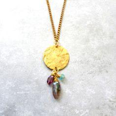 Vintage brass coin with garnet, labradorite & apatite stones on vintage chain - $44