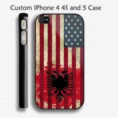 Flag of USA & Albania Albanian AL iPhone Case by digitalcustomshop, $16.99