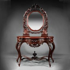 Rococo Revival Inlaid Dressing Table, c. Victorian Furniture, French Furniture, Wood Furniture, Antique Furniture, Furniture Ideas, Vintage Dressing Tables, Rococo Style, Fireplace Mantle, Period