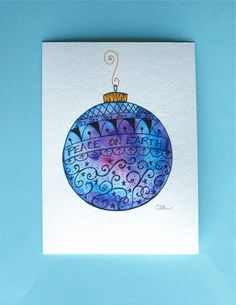 Watercolor card No.228 Christmas card by ArtworksEclectic on Etsy
