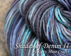 100% Superwash Merino Worsted Yarn - Shades of Denim II - 4.5oz/ 125g, 235yd/ 215m - Hand Dyed - Knitting, Crochet - Wool Yarn - OOAK #kittyminecrafts #mmmakers