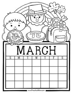 Free set of Calendar for students to Write and Color. This set is super cute and features monthly themes and holidays. Perfect for Preschool Daily Caledar March Calendar Printable, Monthly Calendar Template, Kids Calendar, Calendar Pages, Calendar 2018, Calendar Ideas, Spring Coloring Pages, Coloring Pages For Kids, Coloring Sheets