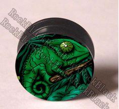 Lézard vert vis bouchon d'oreille tunnel chair bijoux de corps de mélange 10 z5 tailles